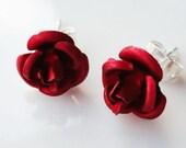 Classic Red Metal Rose Flower 10/12mm Stud Earring