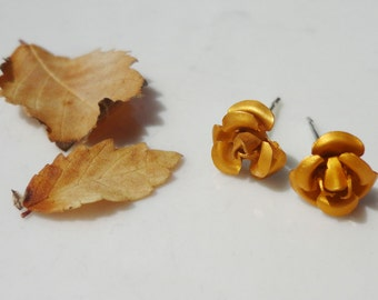 Tangerine Metal Rose Flower 7.5mm Stud Earring