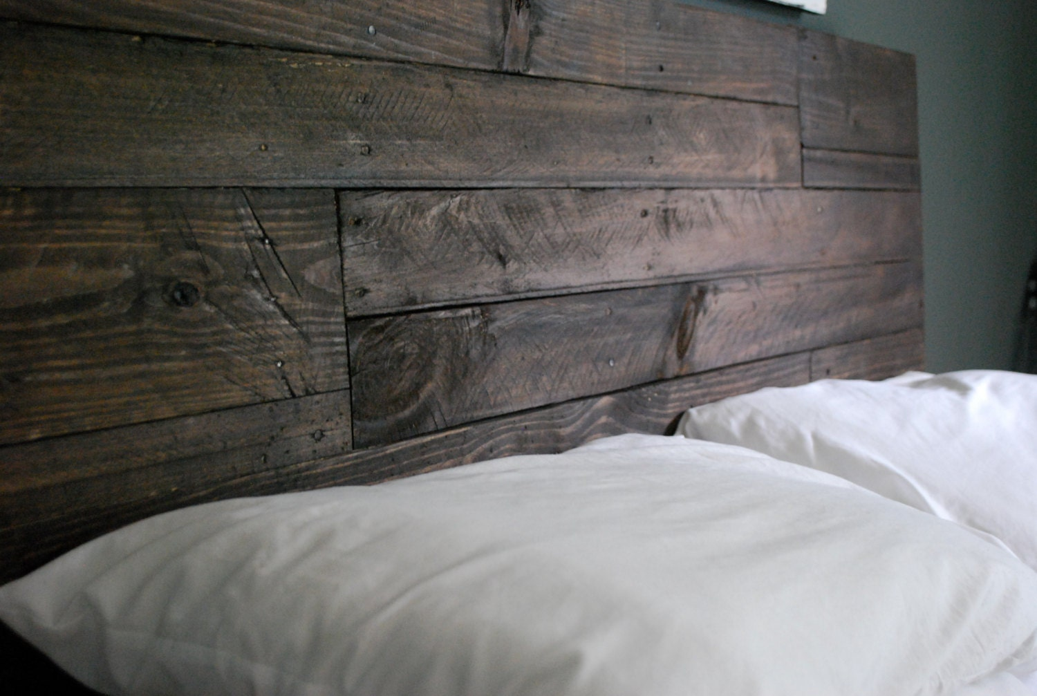 Wood Bed Headboards ~ Industrial and elegant reclaimed wood headboard espresso