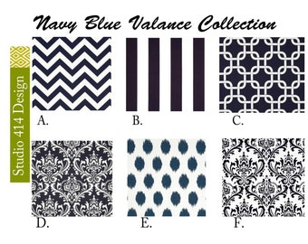 Navy Blue Valance.Navy  Blue Valence.Navy Blue Window Treatment.Navy Blue Drapery .Blue Valance window curtain.