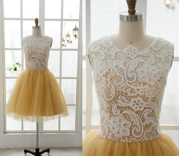 popular lace tulle short wedding dress