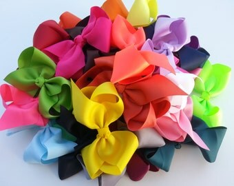 """10%OFF/ 30 Hair bows/ Free Ship/ 5 1/2""""-6"""" Hair Bow/ Extra Large bow/ Girls hair bow/ Toddler hair bow/ Teen Girl Hair bow/ Birthday gift"""