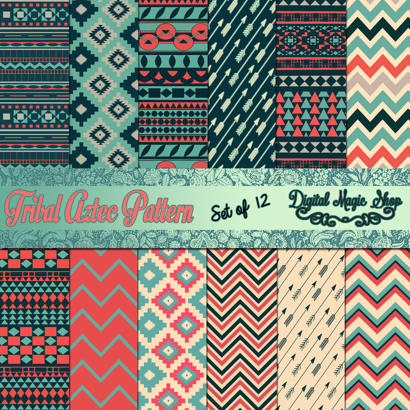 Blue Tribal Wallpapers: 12 Tribal Aztec Patterns Digital Paper Backgrounds Blue Pink