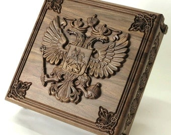 Award box - carved coat of arms Great Russia
