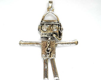 1 Antiqued Silver Musical Robot Pendant Jewelry Findings ACMRP75MM-1TC