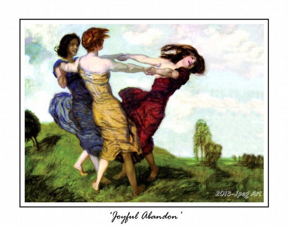 Vintage Painting Of Women Dancing, Joyful Abandon