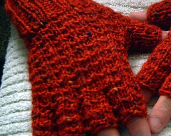 Hand knit Aran short fingered gloves rust red