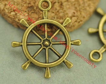 wholesale 100pcs 25mm antiqued bronze Boat Rudder charms findings