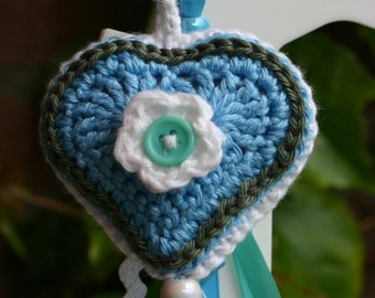 Crocheted keychain blue