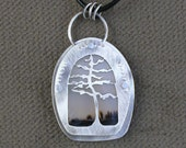 Sterling Silver, Moss Agate, Riveted Pendant Pine Tree Handmade One of a Kind Myska Jewelry.