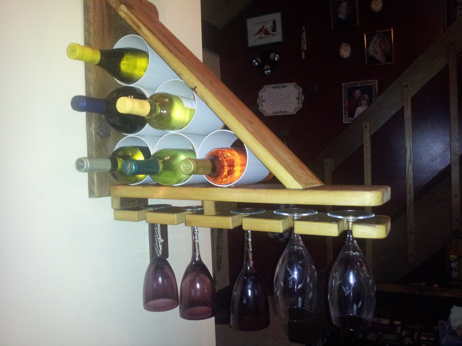 Free shipping wood wine bottle wall rack triangle shape wood - Wine rack shaped like wine bottle ...
