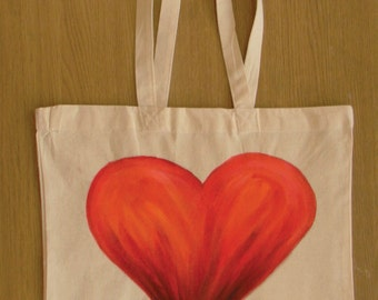 Hand painted and stitched canvas tote bag