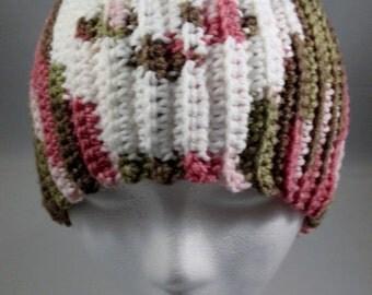 Crochet Pink Camouflage Skeleton Skull Skully Beanie Hat - Women, Teens and Kids