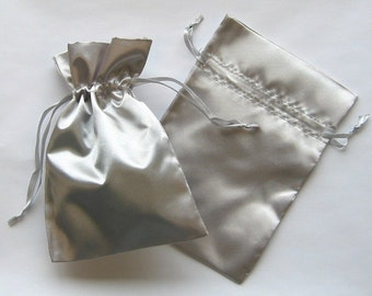 100 Silver Satin Favor Bags, For Wedding Favors, Baby Shower, Jewelry, Gifts