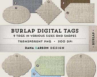 Burlap Digital Tags for scrapbooking, digital collage, printing, blog graphics, clip art ClipArt, Instant Download