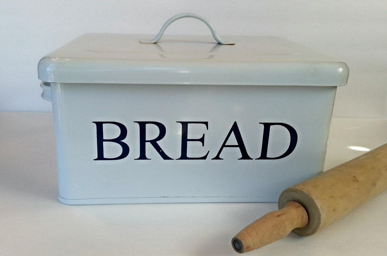 Enamelware Bread Box White Metal Bread Box Farmhouse