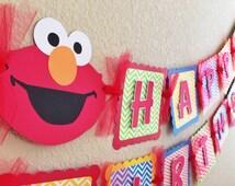 Elmo Birthday Banner Chevron- boy party decorations