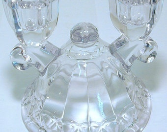 Vintage elegant glass double candlestick holder