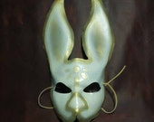 Rabbit Mask (White & Gold) - Bioshock Infinate Inspired - REAL Leather - Handmade - One Of A Kind