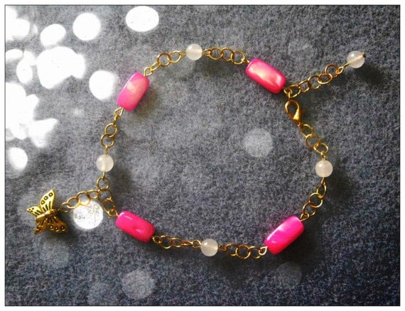Handmade Gold Anklet with Pink Seashell, Opal & Butterfly by IreneDesign2011