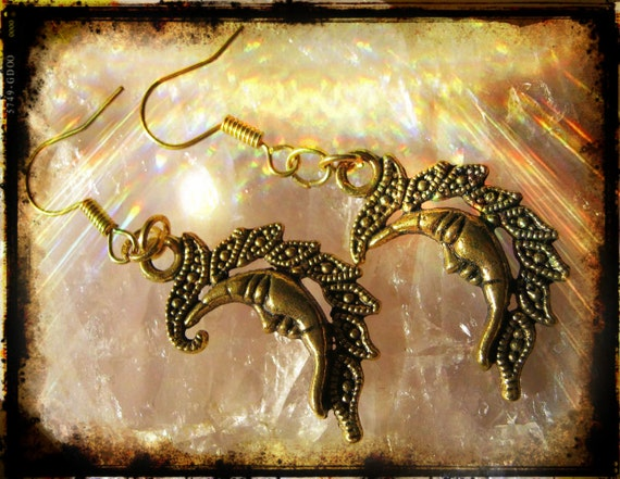 Handmade Gold Hook Earrings with Moons by IreneDesign2011