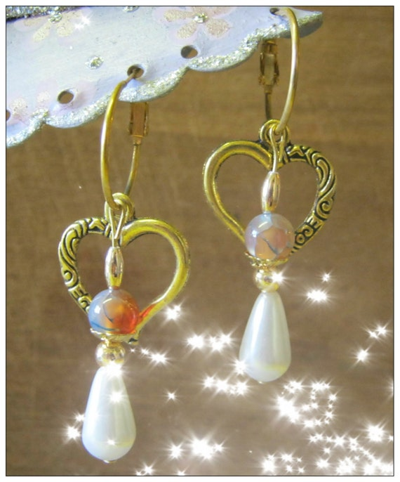 Handmade Gold Earrings with Vein Agate, Pearl Drop & Heart by IreneDesign2011