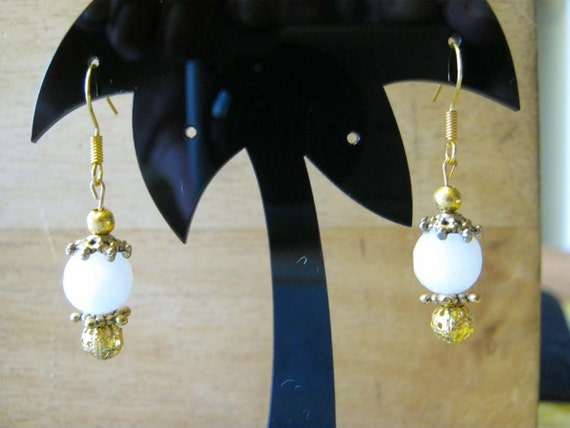 Handmade Gold Hooks Earrings with Facetted White Onyx by IreneDesign2011