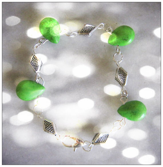 Handmade Silver Bracelet with Green Howlite Drops by IreneDesign2011