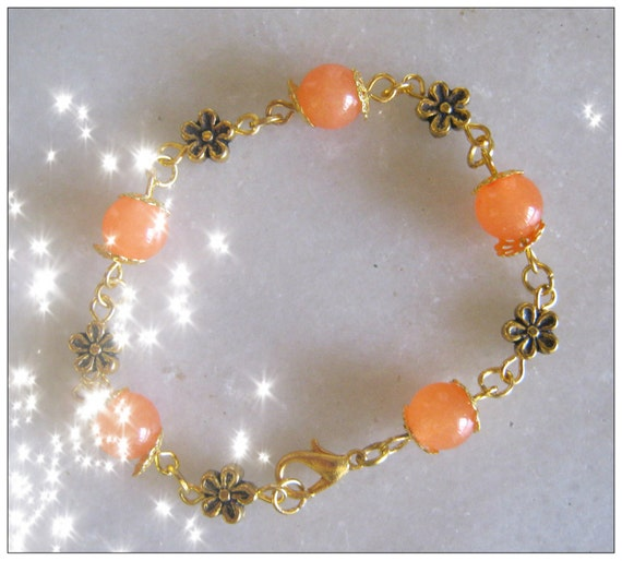 Beautiful Gold Bracelet with South American Orange Topaz