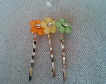 Orange Yellow and Lime Green Bobby pins