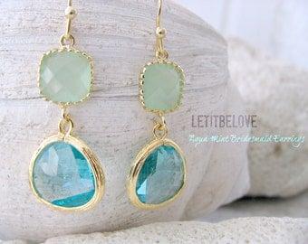 Bridesmaid Earrings, Aqua Gemstone Earrings & Light Mint Stones, Beach Wedding, Aqua Bridesmaid Earrings, March Birthstone, Aqua Jewellery