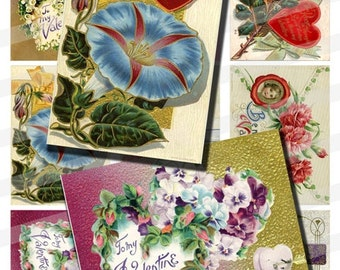 Vintage Valentine Flowers Bouquet Floral Digital Collage Sheet Art Cards Tags 2.5x3.5 inch ATC ACEO Instant Download AC03