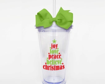 Christmas Tree Words - Acrylic Tumbler Personalized Cup
