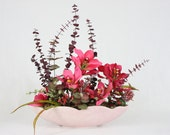 Kitchen Table Centerpiece, Silk Floral Arrangement Artificial Flowers in Ceramic Garden Planter - Pink Enchantment in the Patique Collection