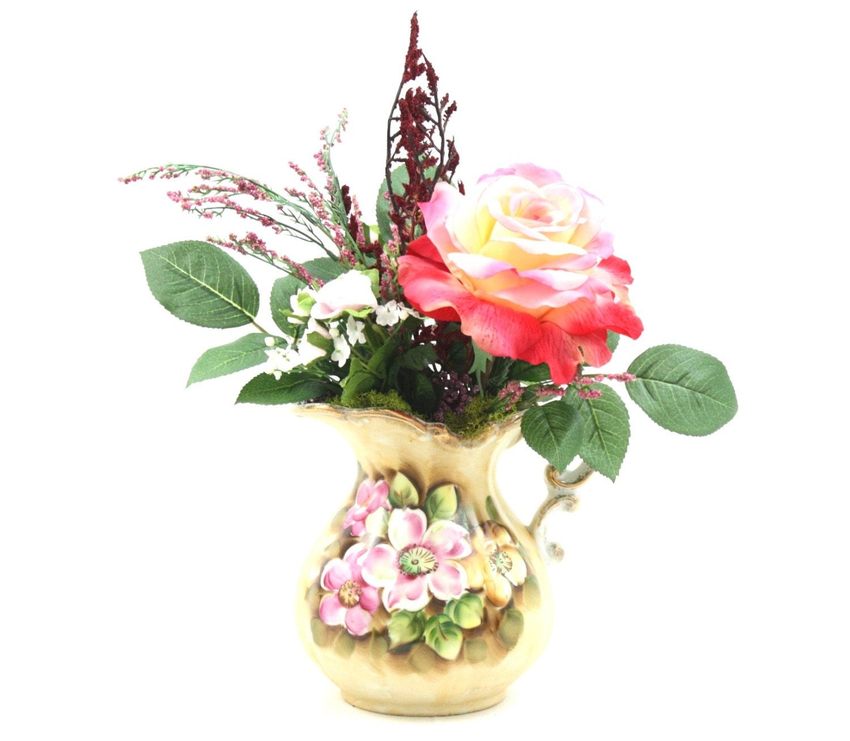Country home decor silk flower arrangement kitchen island for Kitchen decoration with flowers