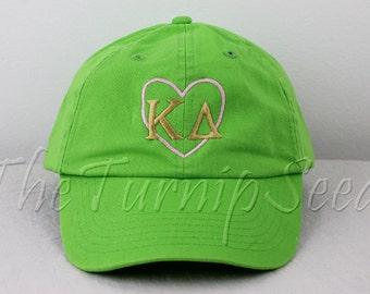 Kappa Delta Sorority Baseball Cap - Pink Heart with Greek Letters