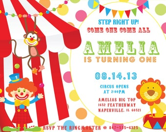 Circus Birthday Invitation (Digital Print File)