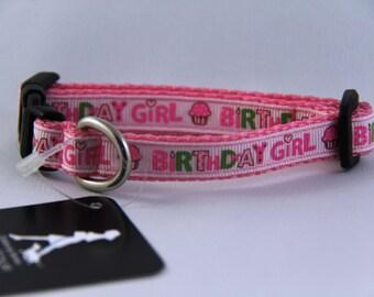 "Birthday Girl Dog Collar 1/2"" Wide Extra Small"