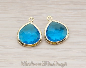 FST001-G-SA // Glossy Gold Plated Framed Sapphire Glass Stone Pendant, 2 Pc