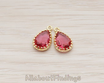 FST018-G-RU // Glossy Gold Plated Teardrop Shaped Textured Framed Ruby Stone Pendant, 2 Pc