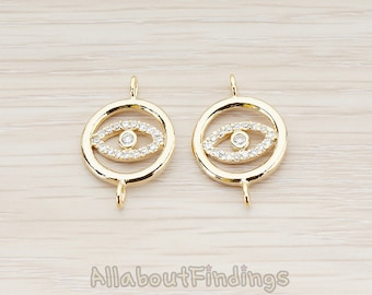 CNT020-G // Glossy Gold Plated Crystal Cubic Zirconia Setting CZ Eye Connector, 2 Pc