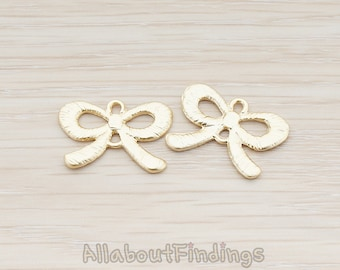 CNT021-MG // Matte Gold Plated Chubby Ribbon Bow Connector, 2 Pc