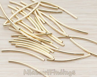 BSC170-G // Glossy Gold Plated Tube Metal Bead, 10 Pc