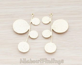 PDT482-MG // Matte Gold Plated Four Different Round Disks Pendant, 2 Pc
