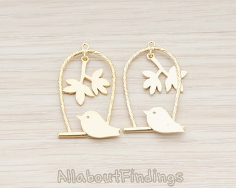 PDT504-MG // Matte Gold Plated Bird on The Swing Pendant, 2 Pc