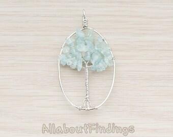 PDT713-02-AQ-R // Glossy Original Rhodium Plated Oval Wiring Aquamarine Gems Faceted Tree Pendant, 1 Pc