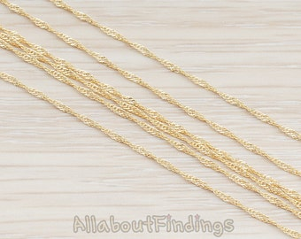 CHN028-G // Glossy Gold Plated 1 mm Twisted Chain, 1 Meter.