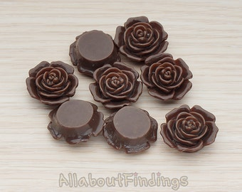 CBC038-CH // Chocolate Colored Mary Rose Flower Flat Back Cabochon, 4 Pc