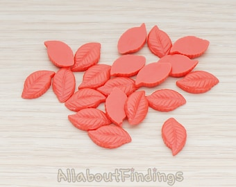 CBC110-CO // Coral Colored Textured Leaf Flat Back Cabochon, 10 Pc