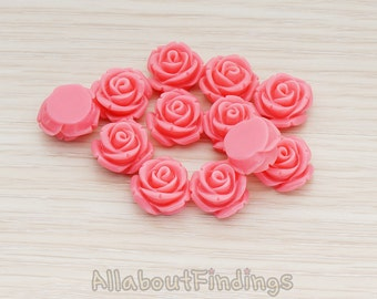 CBC141-01-HP // Hot Pink Colored Curved Petal Rose Flower Flat Back Cabochon, 6 Pc